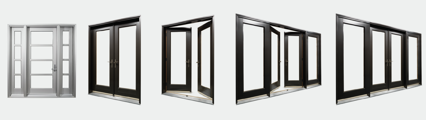 4 different lux aluminum clad door configurations