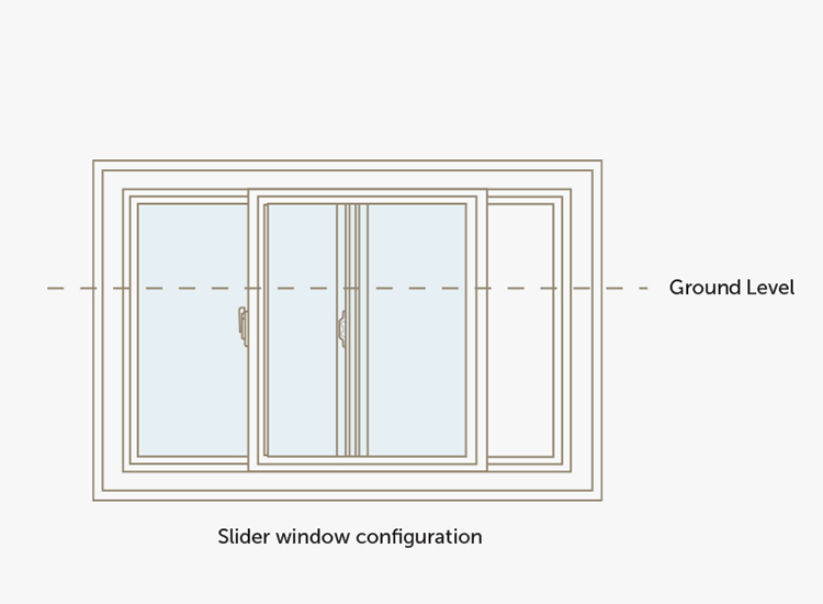 Basement slider window configuration