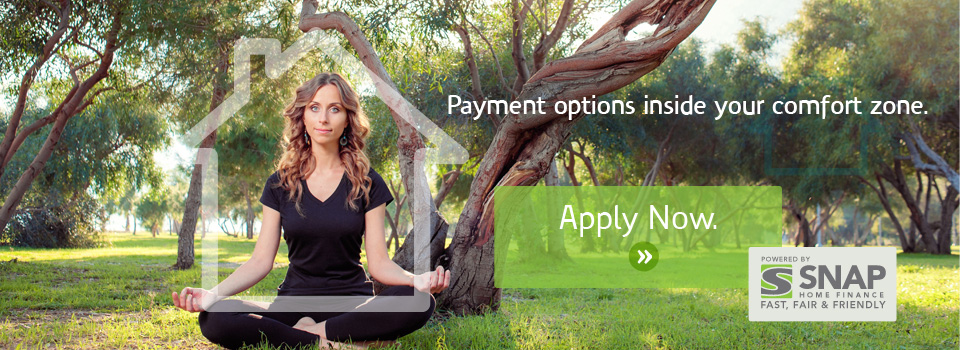 Snap Financing banner - woman meditating
