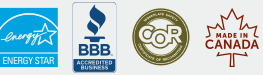 Certification Logos : ENERGY STAR, BBB, COR, Made in Canada